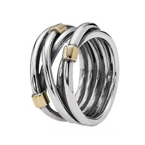 Pandora Retired Silver & 14k Gold Rope Bands